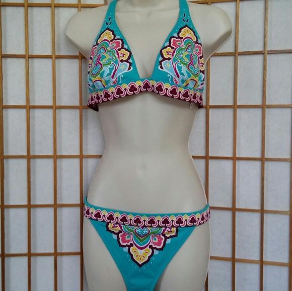 0c7c88a3e389a Victoria's Secret Size L Blue Pink Boho Paisley
